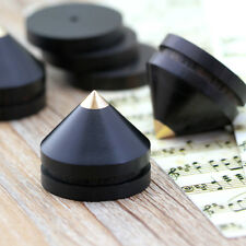 8x Ebony Wooden Speaker Copper Tip Spike Cone & 8x Base Pad Isolation Kit Set