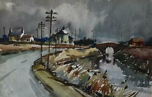 A Leicestershire Farmstead PAIR Watercolour Impressionist Donald Bosher c1970s