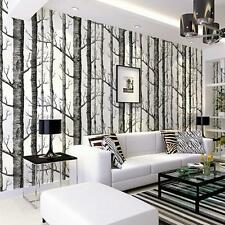 Forest Birch Tree Rustic Modern Minimalist Black White Woods Wallpaper Rolls