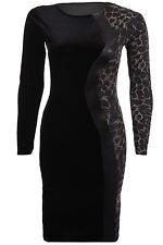 Ladies Long Sleeve Velvet Lurex Tiger Floral Print Contrast Bodycon Womens Dress