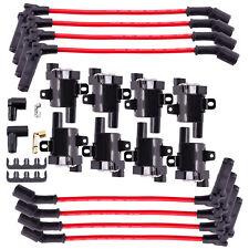 8 Round Ignition Coils Kit  Spark Plug Wires Chevy Silverado 1500 2500 GMC