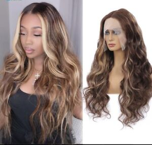"""Ombré Blonde Highlights Body Wave Lace Front Brazilian Human Hair Wig 22"""""""