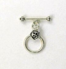 "Sterling Silver 1"" Rose Toggle Clasp"