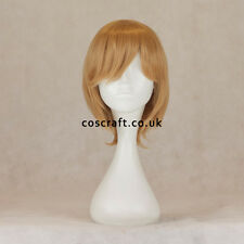 Short layered cosplay wig with fringe in caramel blonde, UK seller, Prince style