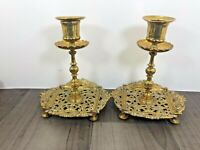 Authentic Vintage Pair Of Brass Candlesticks CandleStick Victorian Townsend & Co
