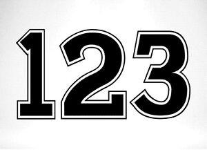 3 x Race Numbers Vinyl Stickers Decals Dirt Bike Motocross Trials Kart - S3