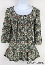 Liberty of London for Target Feathers Tunic Top Blouse Ruffle Hem Peasant Boho