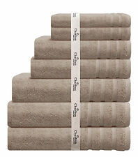7 PCE 575GSM EGYPTIAN COTTON TOWEL SET 2x BATH / HAND / FACE TOWELS 1x MAT BEIGE