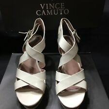 Vince Camuto Giada 8.5 White Platform Sandals New Open Toes Wedges Platform