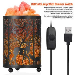 Natural Salt Lamp Bedside Night Light Forest Metal Basket Pink Crystal Lamp Gift