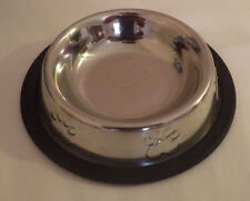 """Small Chrome with Black Rubber Dog Bowl Dish 4"""" Diameter (food) 6"""" D. Bowl"""