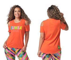 Zumba EST. 01 Cold Shoulder Top -  CHA-CHA Cherry (orange) ~ XS S  M  L  XL  XXL