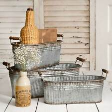 Set of 3 Rustic Bins with Wood Handles - Distressed Metal - Farmhouse Decor