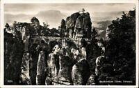 Postkarte PK AK Ansichtskarte gelaufen Basteibrücke Sächs. Schweiz 1930 SW