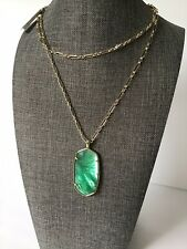 Kendra Scott Faceted Reid Gold Plate Long Necklace Jade Green Illusion New