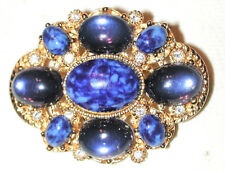 VINTAGE NEO CLASSIC BLUE LAPIS CABOCHON BROOCH ORNATE CRYSTALS SPHINX of ENGLAND