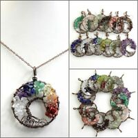 Natural Amethyst Opalite Chip Beads Tree of Life Round Pendant Necklace Earrings
