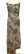 PER UNA Long Dress Brow Cream Animal Paisley Print Chiffon Size 14