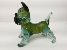 "Vintage Murano Art Glass Green Dog Puppy Figurine, 8"" Long x 7 1/2"" High"