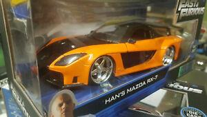 1:24 Fast And Furious 7 Modèle Han 'S Mazda RX-7 30732 Jada 1993 RX7 Miniature