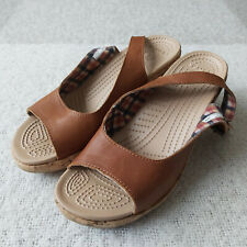 Crocs Womens A-Leigh Brown Leather Slingback Peep Toe Cork Wedge Sandals Size 9