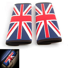 Pair Seat Belt Cover Pads Shoulder Cushion Union Jack UK Flag For Cooper Clubman