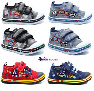KIDS BABY Boys canvas shoes trainers sneakers 4-8 UK Leather insole PUMPS BOX