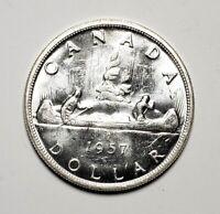 Canada 1957 1 Waterline Silver $1.00 One Dollar Coin