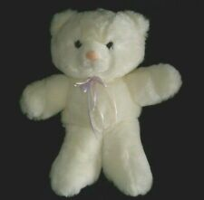 "12"" VINTAGE 1990 COMMONWEALTH WHITE TEDDY BEAR POLKA DOTS STUFFED ANIMAL PLUSH"