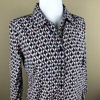 JCP Silk Blend Women's Top Blouse Size S Navy, Subtle Multi-color Bird Pattern