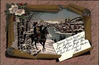 """Säckingen 1898 color AK Trompeter auf Pferd mit Spruch Vers """"Behütt Dich Gott"""""""