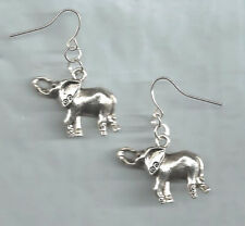 Elephant earrings-dk silver tibetan alloy metal charms, drop/dangle/hook