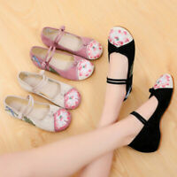 Women Chinese Folk Embroidered Flower Flat Shoes Mary Jane Cotton Ballet Sandals