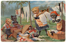 Thiele Cats Mothers Hanging Laundry & Kittens Knocking Over Laundry Baskets