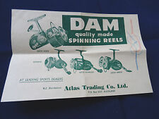 SCARCE VINTAGE DAM ADVERTISING SHEET SHOWING D.A.M FISHING REELS, KNOTS AND LINE
