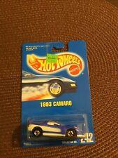 Hot Wheels 1993 Camaro jack Baldwin Blue Card #242 11243 error no side markings