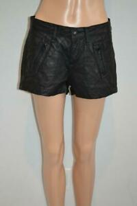 Rag & Bone Black Leather Quilted Shorts, Size 26