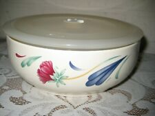 """Lenox Poppies on Blue Round Vegetable Serve and Store 7""""  Bowl with Plastic Lid"""