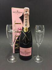 Moet Chandon Imperial Rosé Champagner Flasche 0,75l 12% Vol + 2 Moët Gläser