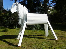 90cm Holzpferd Voltigierpferd Spielpferd Pferd Pony Lippizaner weiß mit Maul NEU