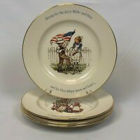4 HOLLY HOBBIE FREEDOM SERIES COMMEMORATIVE COLLECTOR PLATES FREE SHIPPING