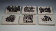 SHERLOCK HOLMES BOTTICINO MARBLE SET OF 6 BLACK/WHITE COASTERS
