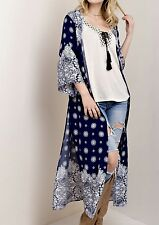 NWT Kimono blue white Maxi Duster Coat Semi Sheer Gypsy Bandana Print Easy Fit M