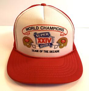 San Francisco 49Ers Super Bowl XXIV Ball Cap 1990 Mesh Back New