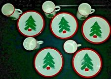 5 Sets Of Vintage MARIMEKKO by PFALTZGRAFF CHRISTMAS TREE MUGS & Dessert PLATES