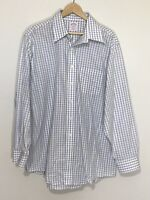 Brooks Brothers 346 Shirt Plaid Green Blue White 17 4/5 Long Sleeve Button Up