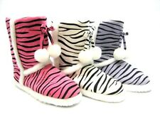 SLIPPER BOOTS WITH TASSELS ~ PURPLE or PINK or WHITE ~ ZEBRA STRIPE ~