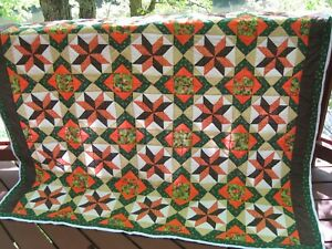 "Handmade Patchwork Crossroad Stars Quilt, 69"" x 74"", Wall, Bed, Throw"