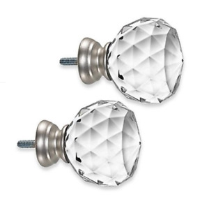 Cambria Premier Complete Faceted Ball Finials in Brushed Nickel (Set of 2)