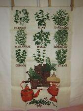 Vintage HERBS SPICES Linen Towel - NOS